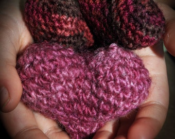 Puffy crochet hearts - pink, red, brown - puffy hearts - bowl filler decorations, set of three