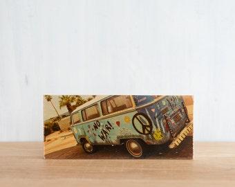 Vintage VW Van, Photo Art Block, 'Peace Van' by Patrick Lajoie, Image Transfer on wood, vintage van, graffiti VW, palm springs, hippie van