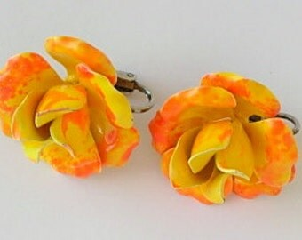 Mod Orange Earrings Vintage Neon Bright Orange & Yellow Enamel on Metal Rose Flower Power Floral Dimensional Clip On Groovy Retro 1960s 60s