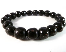 Nuummite Stretch Bracelet BACK IN STOCK Black High Vibration Natural Genuine Smooth Round Nugget Gemstone Beads