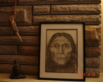 "Vintage Pencil Sketch Portrait of a Native American Indian Framed 12 x 15"""
