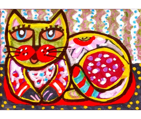Children S Party Box Wall Art For Girl S Bedroom: Items Similar To Cat Art, Folk Art Cat, Cat Art Print