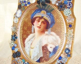 Vintage Jeweled Oak Picture Frame  Blue Rhinestones