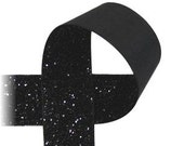 "3/8"" Glitter Ribbon - BLACK - 5 Yards - Sparkle Ribbon"