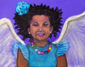 Original 8 x 10 Child Angel Fine Art Angel Print, Inspirational, Children's Decor, Nursery room, Earth Angel, Purple