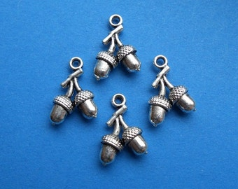 12 Double Acorn Charms Small 3-D Silver Tone Fall Acorns Nature Charm Jewelry 18x12 mm