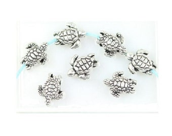 48 Tiny Little Sea Turtle Spacer Beads for Thread or Wire Please Read Desciption Completely Small Bulk Lot Beach Ocean Cruise  9 mm