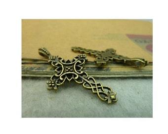 4 Ornate Bronze Tone Gothic Cross Pendants Religious Christian Jewelry 39 x 20 mm