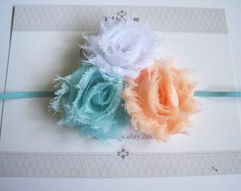 Aqua, Peach and White Baby Headband, Baby Headbands, Baby Bows, Baby Girl Headbands, Infant Headbands, Infant Bows, Newborn Headbands
