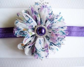 Purple Floral Headband, Baby Headbands, Newborn Headbands, Infant Headbands, Baby Girl Bow, Infant Hair Bow,