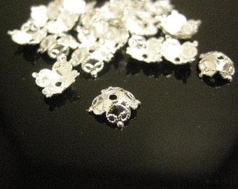 30pc 8.5mm silver finish lead nickel free bead cap-4686