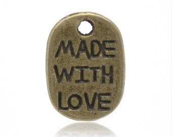 """30pc antique bronze finish  """"Made with Love"""" Charms Pendants -899L"""