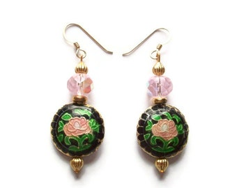 Earrings with Pretty Pink Flower on  Black Cloissone Background, Pink Faceted Glass and Gold