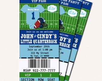 Football Baby Shower Printable Ticket Invitations, Printable Photo Card, DIY Baby Shower Ticket Cards