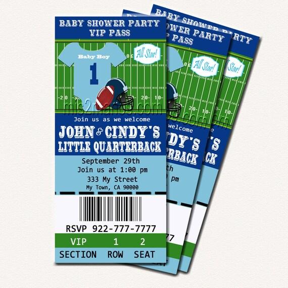 Football Baby Shower Printable Ticket Invitations Printable