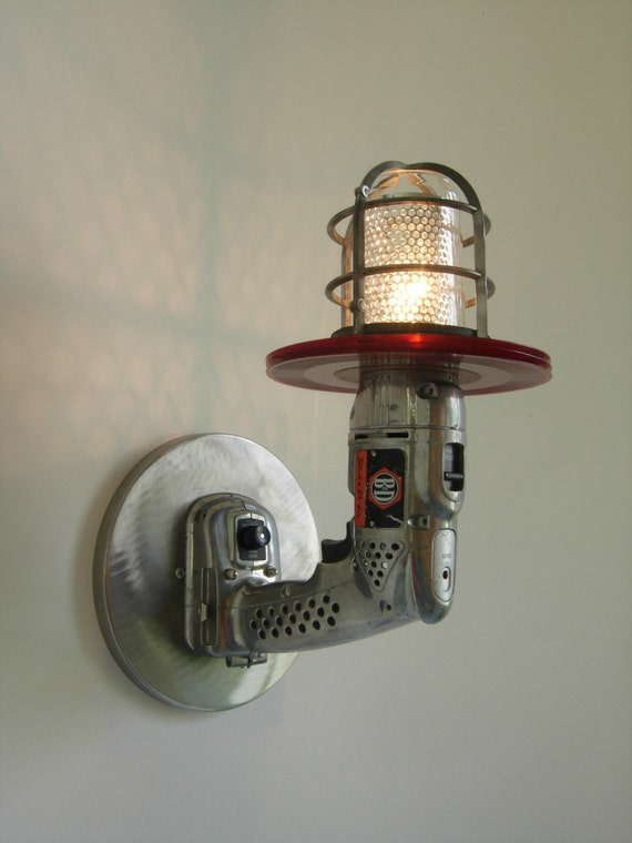 Industrial Style Wall Mounted Lights : Items similar to Industrial-style lighting, Retro style Cordless drill sconce, wall-mounted cage ...