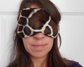 Giraffe Print Faux Fur Sleep Mask.
