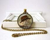 Steampunk CAT Pendant - Steampunk Cat Jewelry - Western CAT - Steampunk Jewelry -  Bronze Jewelry B25