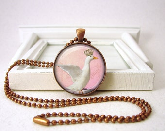Pet Pendant - Goose Crown Royal Jewelry - Pink - Pet Jewelry - Funny Jewelry - Copper Necklace - Gift Bag B78