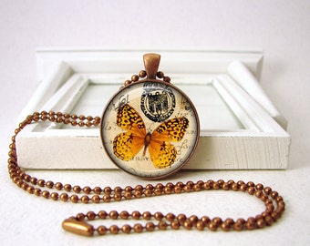 Butterfly Pendant - Vintage Butterfly Jewelry - Orange Black - Butterfly Necklace - Butterflies - Copper JewelryGift Bag B82