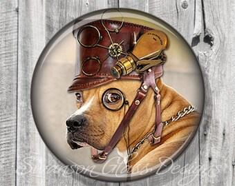 Pocket Mirror - Steampunk Hound Dog - Photo Mirror - Compact Mirror Illustration Image - Gift under 5 - Party Favor A127