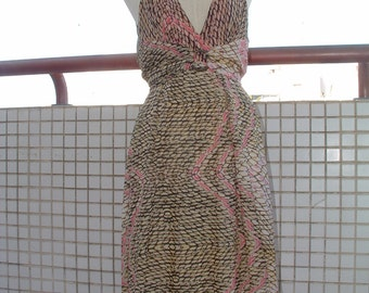 free shipping ROBERTO CAVALLI silk dress size 42 european made in Italy circa 1978's dead stock never been worn