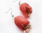 Red  Cocoon Earrings, eco friendly Jewels,  Silk, Pearl,  dark red Dyed Silk Cocoons earrings, Spring Wedding Jewelry