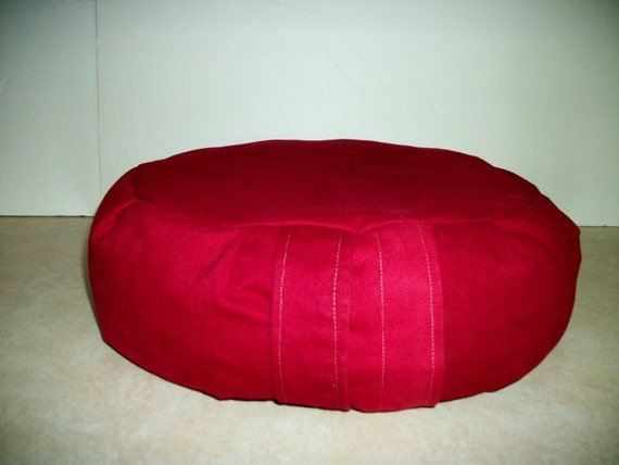 Zafu Meditation Cushion Cover Red Twill. UNFILLED COVER.  Made by a Micro Business USA. On Sale