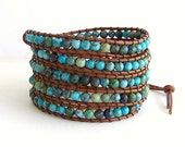 Turquoise Leather Wrap Bracelet - Mountain Jade Stones, Light Brown Leather - Western Bohemian