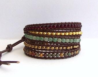 Leather Wrap Bracelet - Garnet,  Green Aventurine, Red Creek Jasper, Brown Leather - Southwest Boho Chic