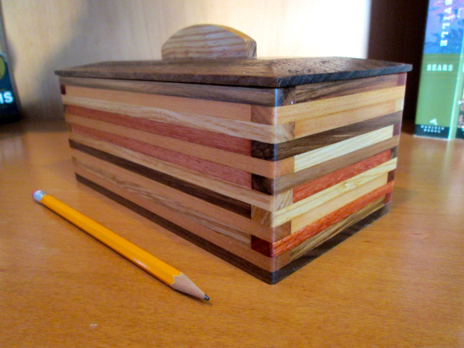 Wooden Box Desk Organizer Wood Box Scrap Wood Box Wood