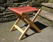 Folding Wooden Camping Chair Seat Outdoor Recliner Foot Stool Red Chenille Bye Brytshi