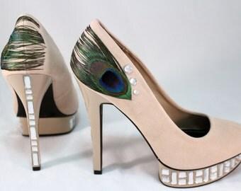Glamorous Peacock Wedding Heels