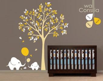 "Baby Nursery Wall Decals - Tree Wall Decal - Elephant Decal - Large: approx 83"" x 75"" - K006"