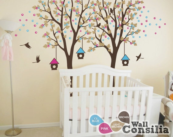 baby kinderzimmer wandtattoo vogelhaus baum wall decal. Black Bedroom Furniture Sets. Home Design Ideas