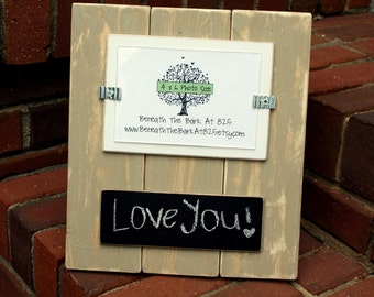 Wood Picture Frame with Chalkboard - Holds 4x6 Photo - Distressed Wood - Khaki & White - Black Chalkboard