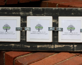 Picture Frame - Distressed Wood - Holds 3 - 3x3 Photos - Black & White