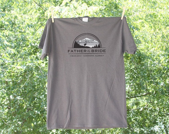 Mountain Theme - Father of The Bride Wedding Party Shirt with Date and Location