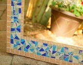 Decorative Mosaic Wall Mirror -- Blue and Copper - Made to Order - Beach House Decor