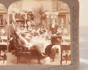 The Farewell Dinner - Orator puts the guests to sleep - Rare 1920's Humorous Underwood Stereoview