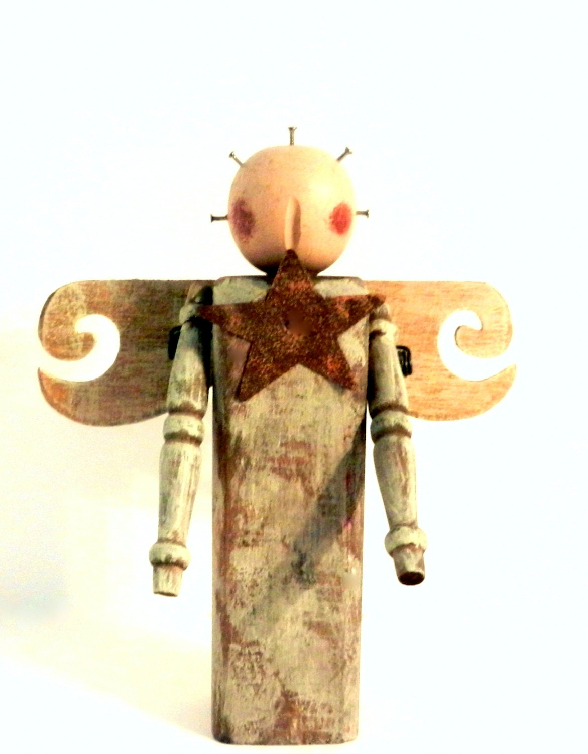 Primitive wooden angel rustic home decor folk art for Wooden art home decorations
