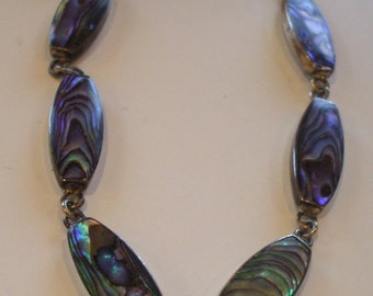 Beautiful Abalone Oval Linked Bracelet Set In Sterling Silver.