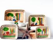 Vintage 1930s Mexican Pottery Dishes - Set of 4 - Tlaquepaque Touristware, Mexican Folk Art, Southwestern Decor, Cinco de Mayo, Mexican Art
