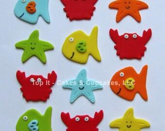 Fondant Cupcake Toppers - Sea Life