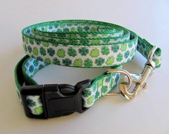 Lucky Irish Dog Collar and Leash Set Shamrocks on Both Sides !