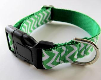 Irish Dog Collar Green and White Chevron  Martingale or Buckle