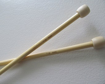 Size 10 1/2 Knitting Needles 7 mm Bamboo Wooden 14 inch straight single point