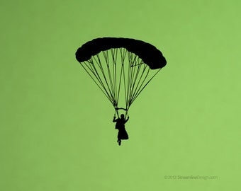 Parachute Falling from the Sky Removable Vinyl Wall Art, parachuting sky sports plane airplane jumping outdoor sports parachuting wall decal