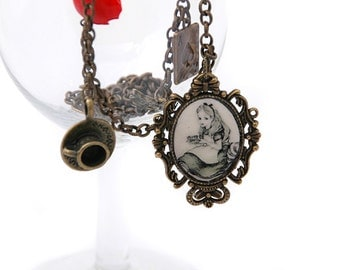 Alice in wonderland vintage necklace, bronze chain with charms