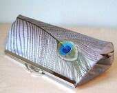 EllenVintage Silk Peacock Clutch in Silver, Wedding clutch, Bridal clutch, Bridesmaid clutch, Evening bag